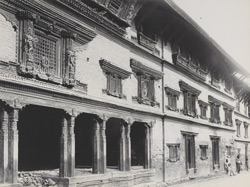 Outside of street, Khatmandu, showing wood carving